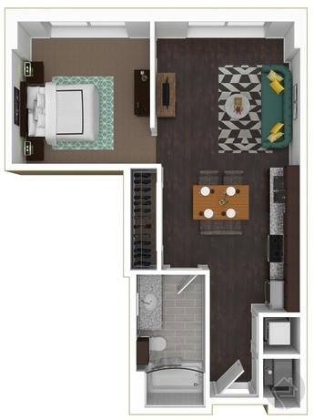 0/1 600 sqft floor plan