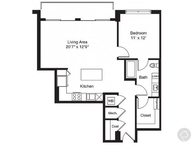 1/1 888 sqft floor plan