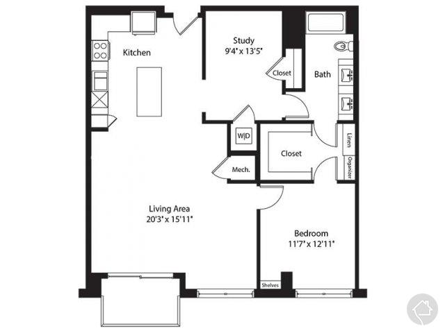 1/1 1158 sqft floor plan