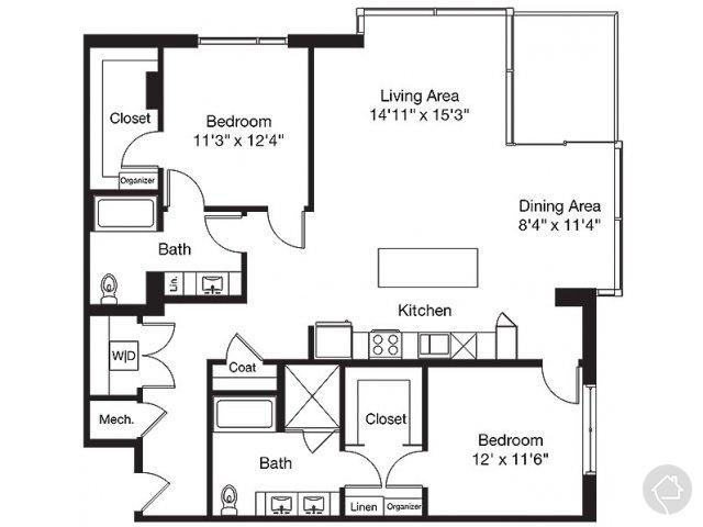 2/2 1465 sqft floor plan