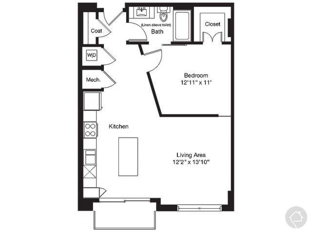 1/1 785 sqft floor plan