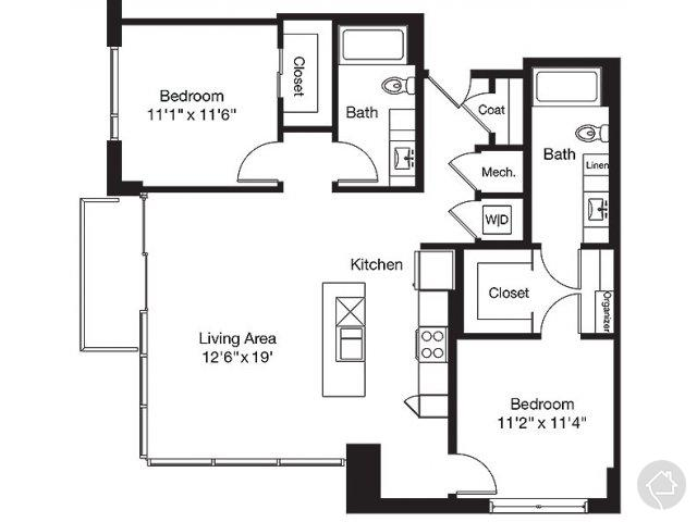 2/2 1142 sqft floor plan