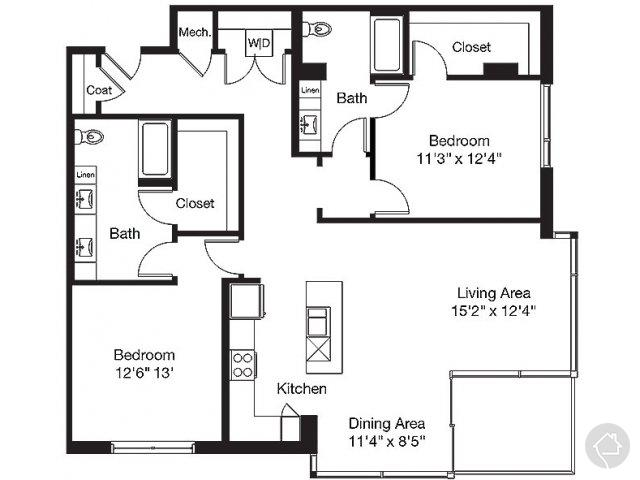 2/2 1475 sqft floor plan