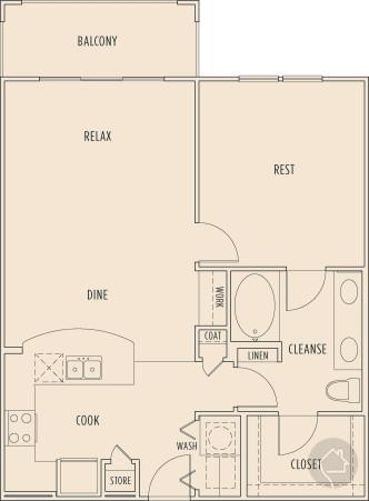 1/1 808 sqft floor plan