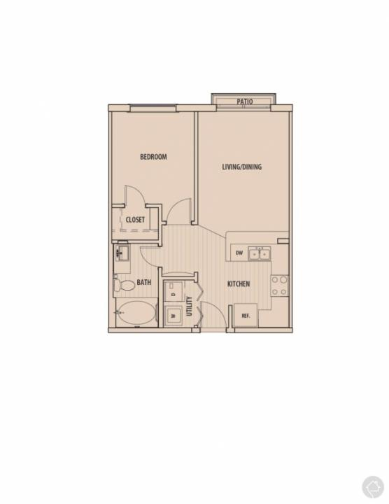 1/1 560 sqft floor plan