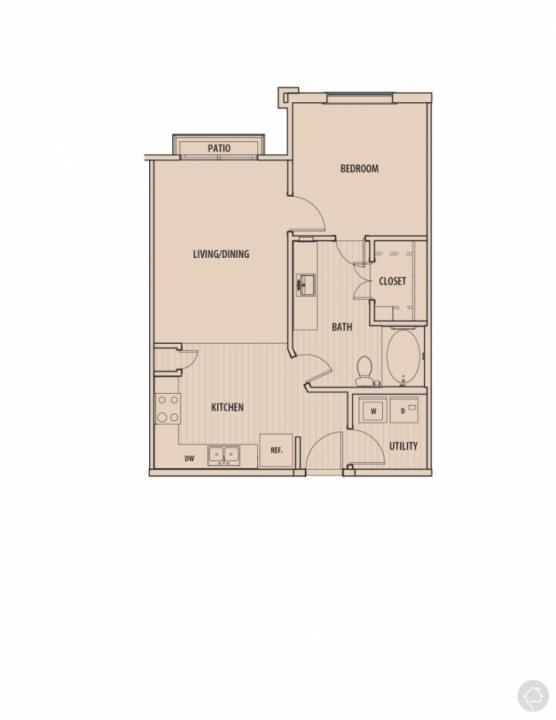 1/1 700 sqft floor plan