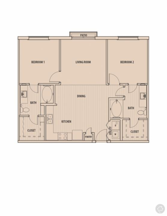 2/2 1050 sqft floor plan