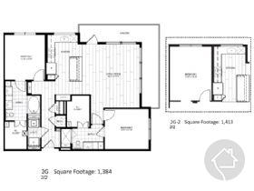2/2 1384 sqft floor plan