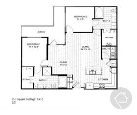 2/2 1410 sqft floor plan