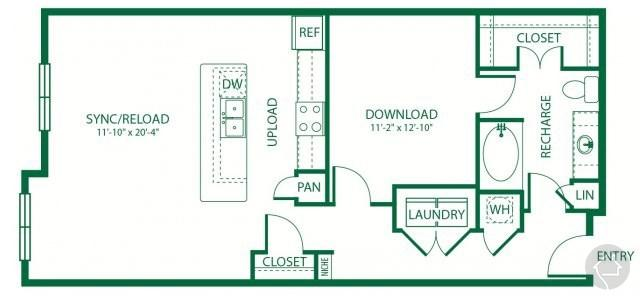 1/1 1000 sqft floor plan