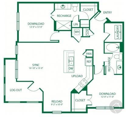 2/2 1206 sqft floor plan
