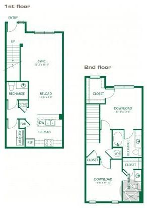 2/2.5 1275 sqft floor plan