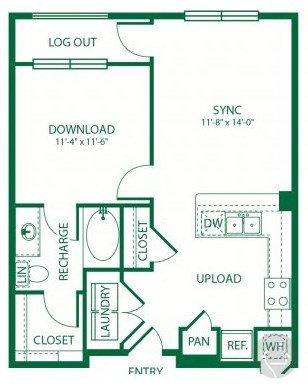 1/1 654 sqft floor plan