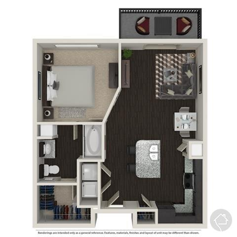 1/1 911 sqft floor plan