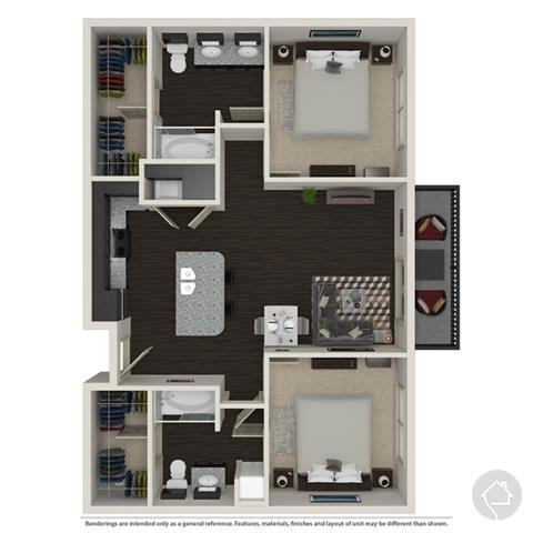 2/2 1221 sqft floor plan