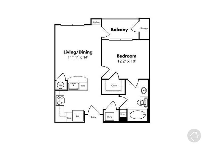 1/1 566 sqft floor plan