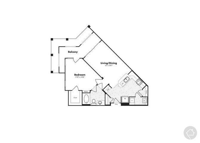 1/1 819 sqft floor plan