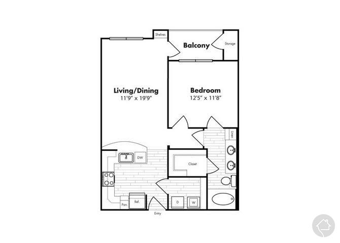 1/1 727 sqft floor plan