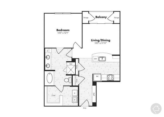 1/1 804 sqft floor plan