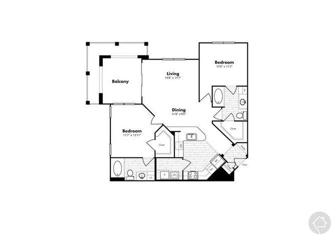 2/2 1122 sqft floor plan