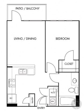 1/1 626 sqft floor plan