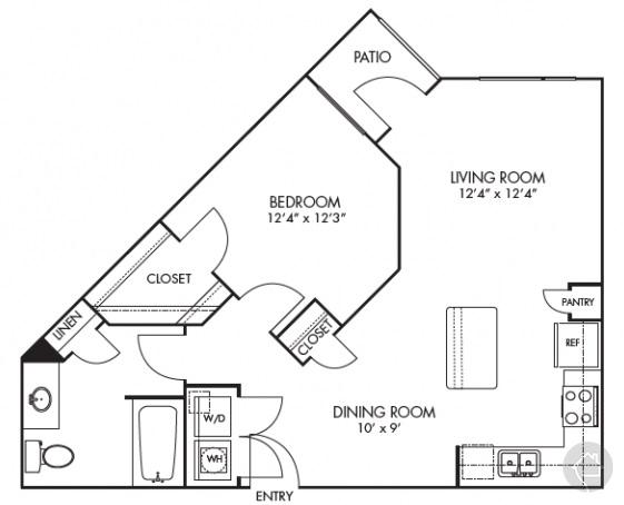 1/1 762 sqft floor plan