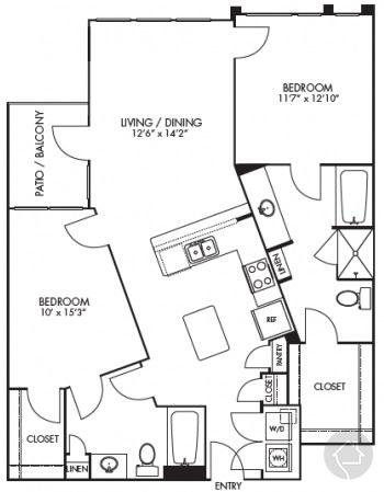 2/2 1168 sqft floor plan