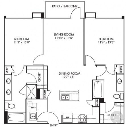 2/2 1126 sqft floor plan