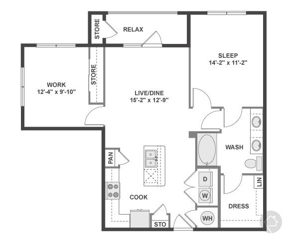 1/1 949 sqft floor plan