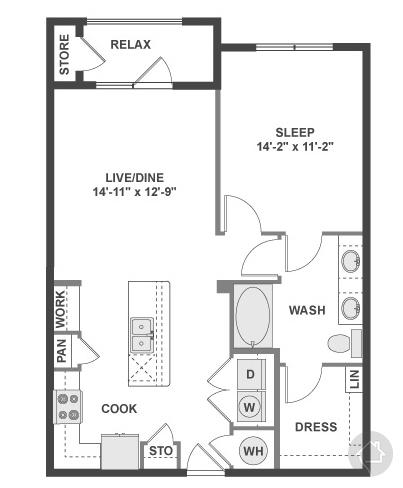 1/1 825 sqft floor plan