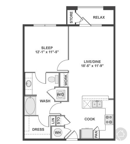 1/1 760 sqft floor plan