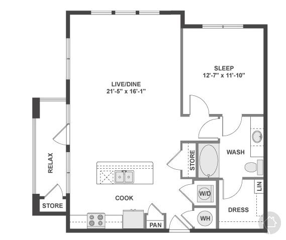 1/1 904 sqft floor plan