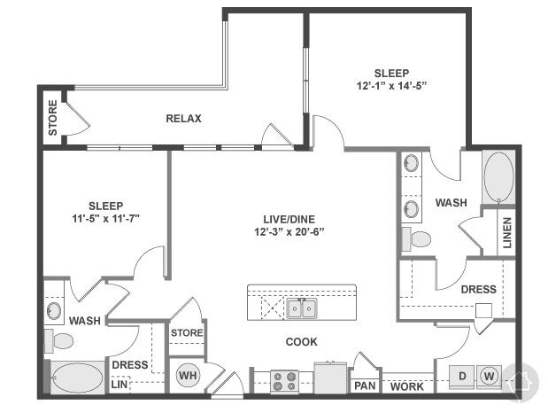 2/2 1199 sqft floor plan
