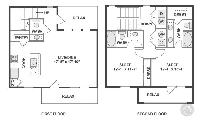 2/2.5 1370 sqft floor plan