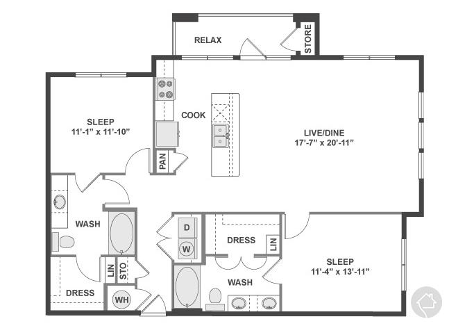 2/2 1257 sqft floor plan