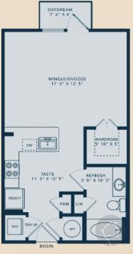 0/1 540 sqft floor plan