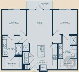 2/2 1030 sqft floor plan