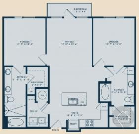 2/2 1151 sqft floor plan