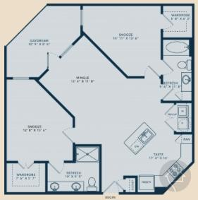 2/2 1107 sqft floor plan
