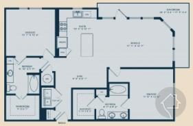 2/2 1292 sqft floor plan