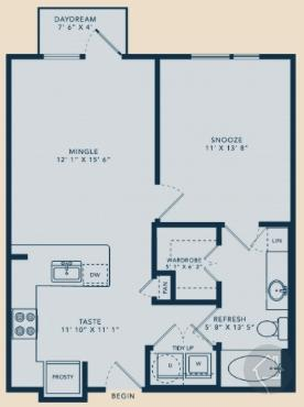 1/1 676 sqft floor plan