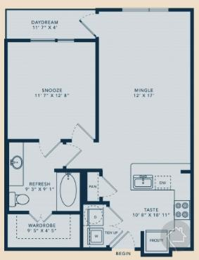 1/1 725 sqft floor plan