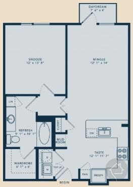 1/1 779 sqft floor plan