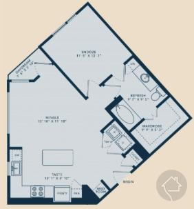 1/1 764 sqft floor plan