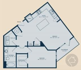 1/1 845 sqft floor plan