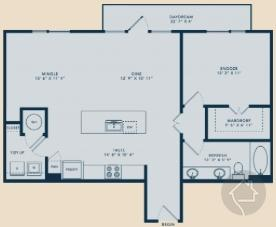 1/1 932 sqft floor plan
