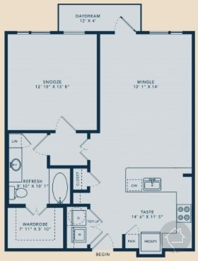 1/1 835 sqft floor plan