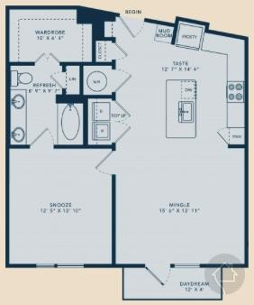 1/1 860 sqft floor plan