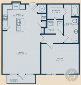 1/1 996 sqft floor plan