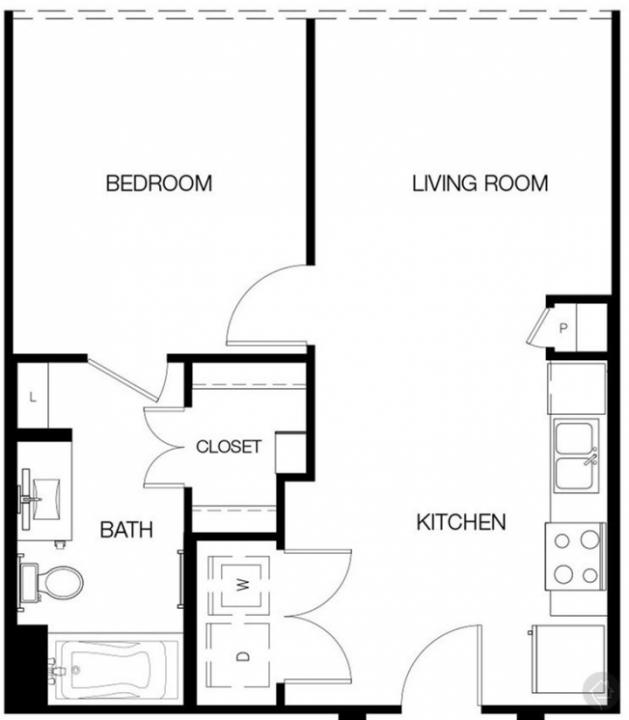 1/1 604 sqft floor plan